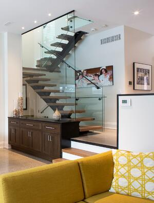 contemporary home showcasing a minimal floating staircase toronto