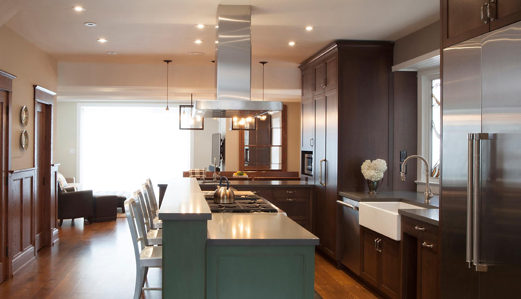 Playter-Estates-home-renovation-with-gourmet-kitchen-mahogany-cabinets-and-island